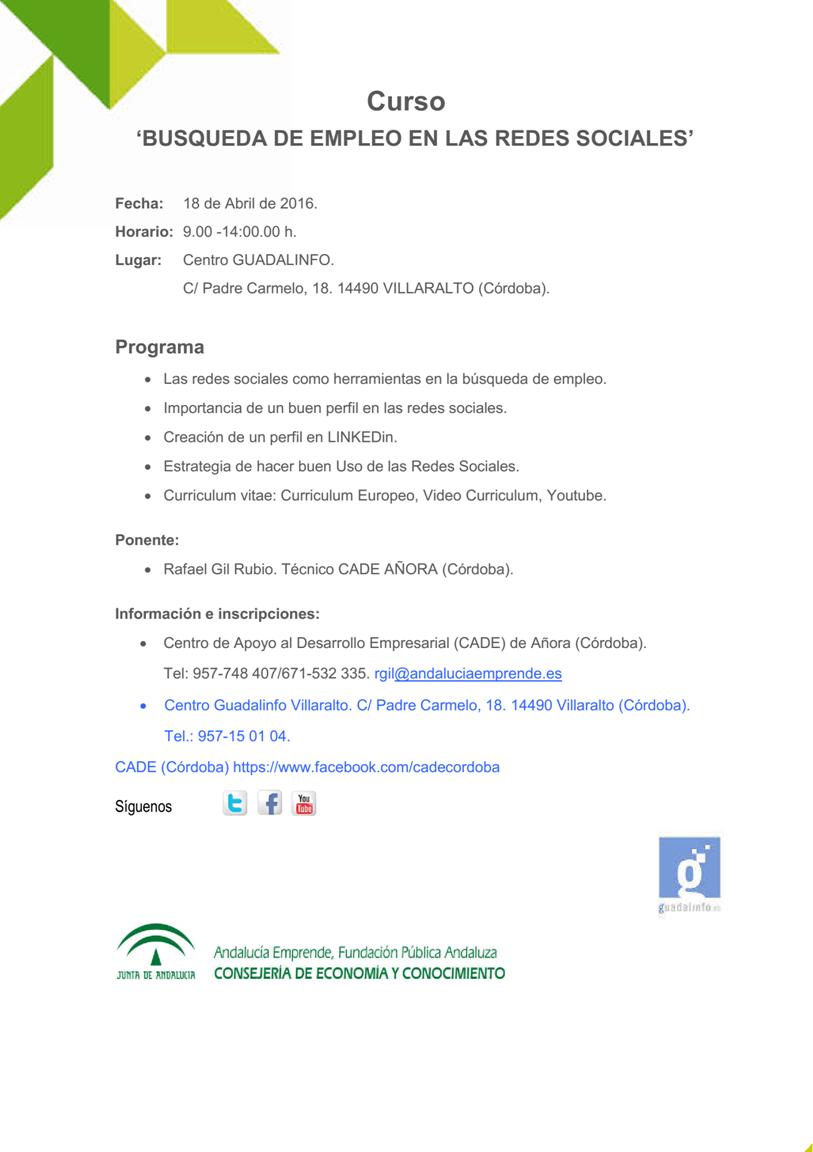 Curso \'Búsqueda de empleo en las redes sociales\' - Andalucía ...