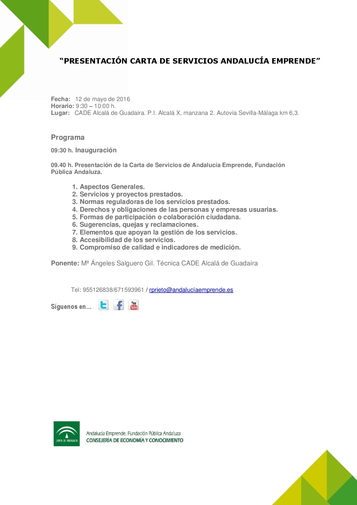 presentaci u00f3n carta de servicios andaluc u00eda emprende