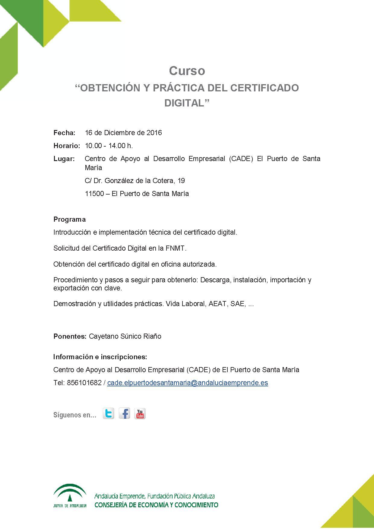 Obtenci n y pr ctica del certificado digital andaluc a for Oficina certificado digital