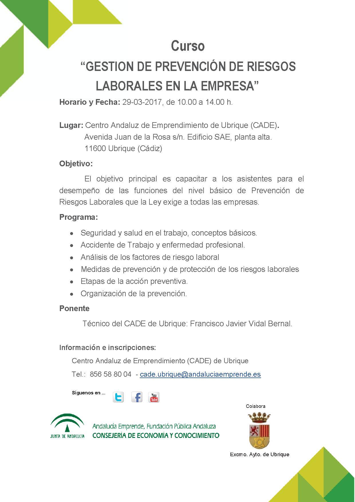 Gestión de Prevención de Riesgos laborales en la empresa - Andalucía ...