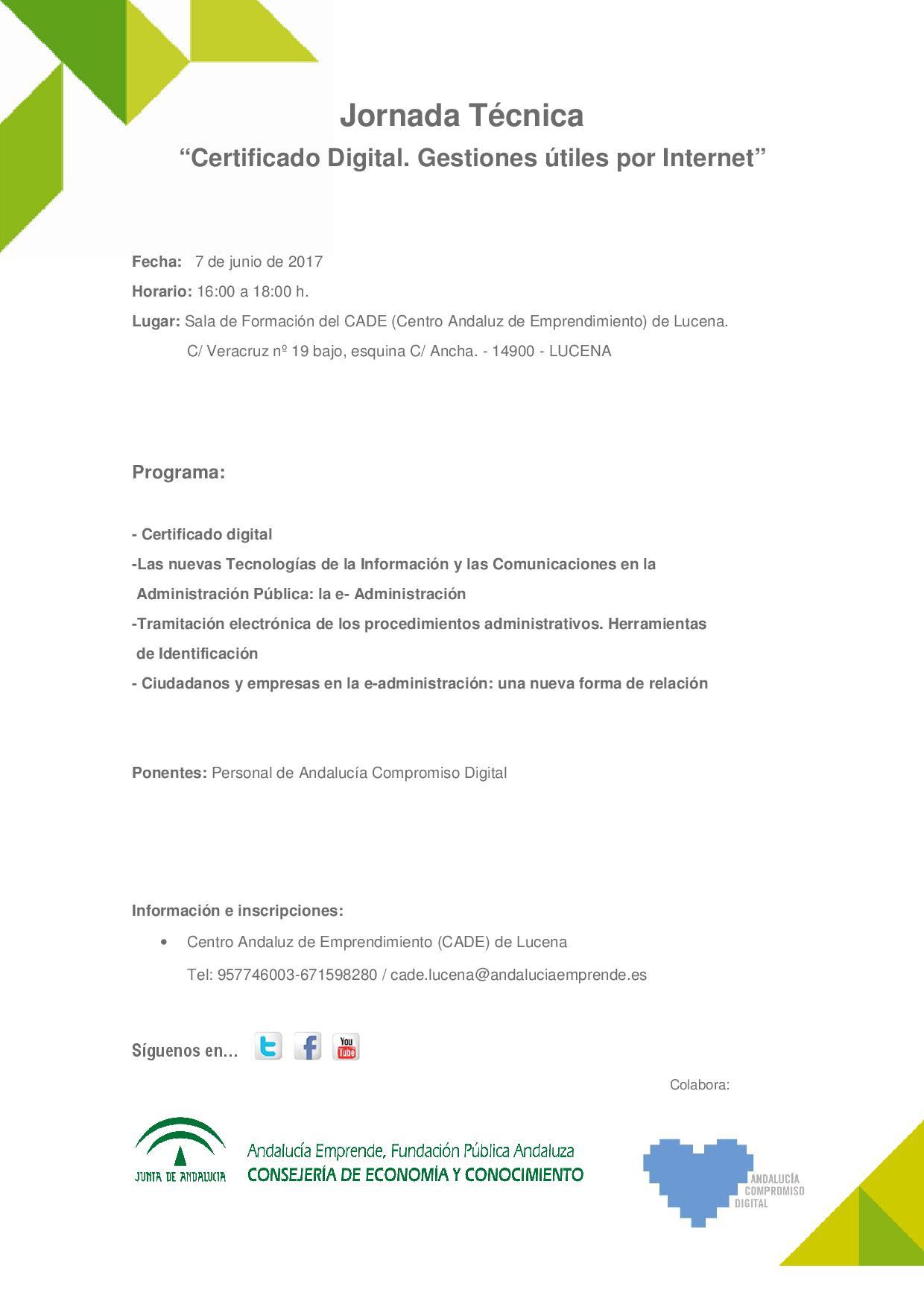 Jornada t cnica 39 certificado digital gestiones tiles por for Sellar paro por internet andalucia certificado digital