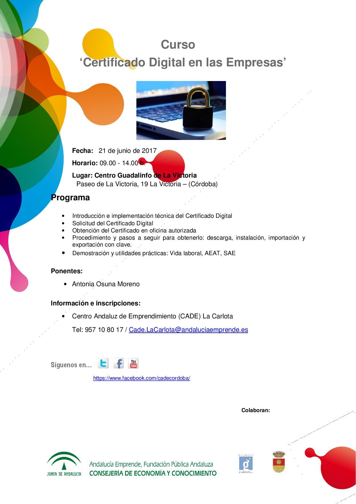 Curso certificado digital en las empresas andaluc a for Oficina certificado digital