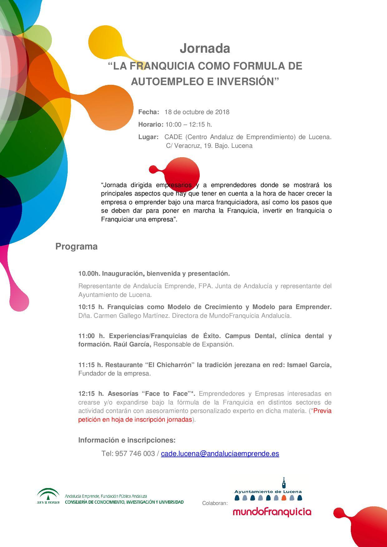 f18d3ca45 Jornada  LA FRANQUICIA COMO FORMULA DE AUTOEMPLEO E INVERSIÓN ...
