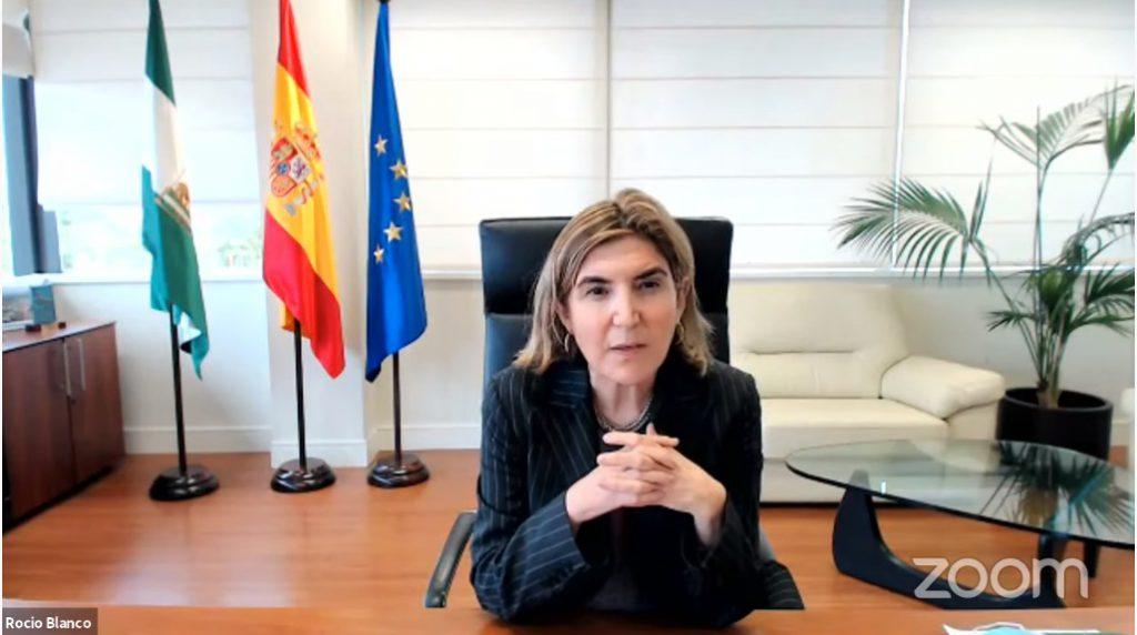 Rocio Blanco, consejera de Empleo, Formación y Trabajo Autónomo durante su intervención en la I Semana de la Mujer Emprendedora y Empresaria